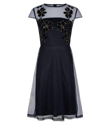 Blue Vanilla Black Embellished Mesh Skater Dress New Look