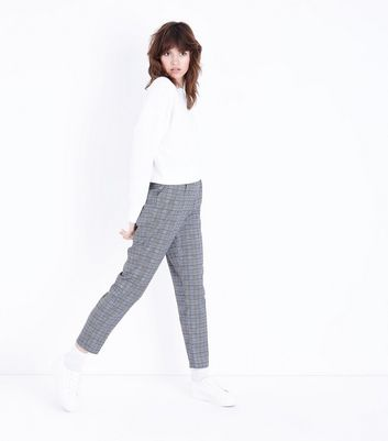 Parisian Light Grey Check Trousers New Look