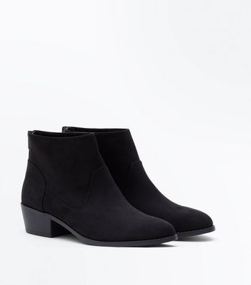 Black Suedette Western Ankle Boots New Look