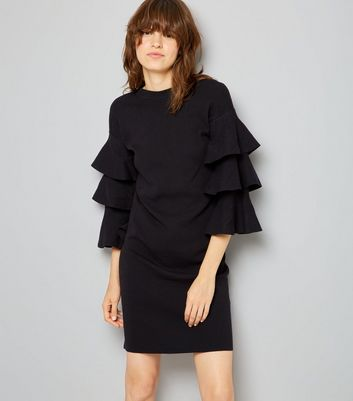 Cameo Rose Black Frill Sleeve Trim Jumper Dress New Look