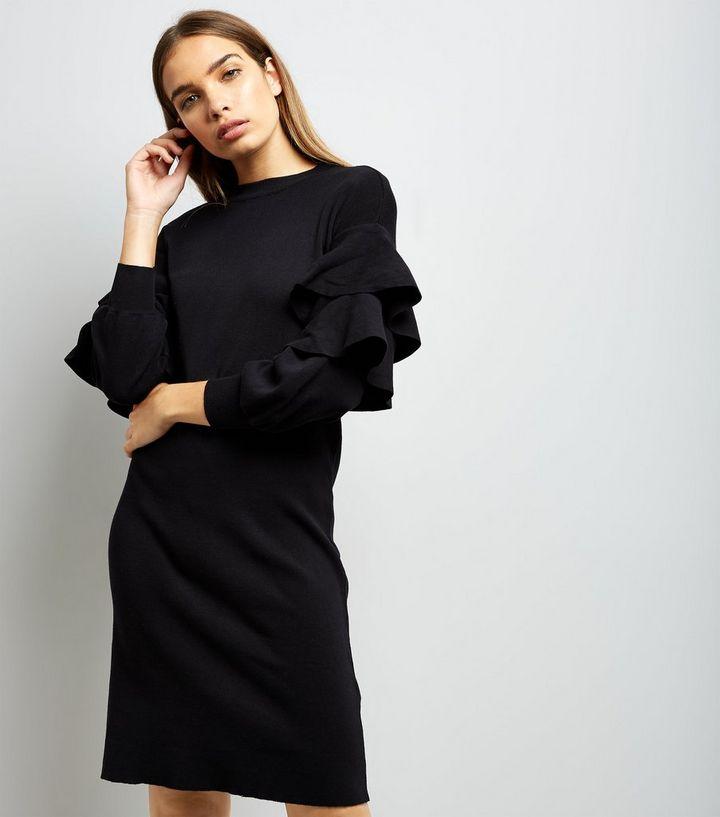 b823485aaa3 Cameo Rose Black Frill Trim Sleeve Jumper Dress