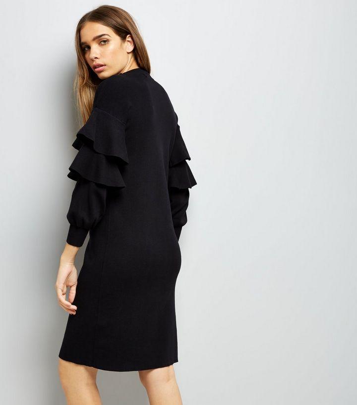 f50637e3c5d ... Black Frill Trim Sleeve Jumper Dress. ×. ×. ×. Shop the look