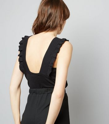 Cameo Rose Black Frill Trim Ribbed Vest Top New Look