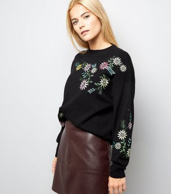 Cameo Rose Black Floral Embroidered Jumper New Look