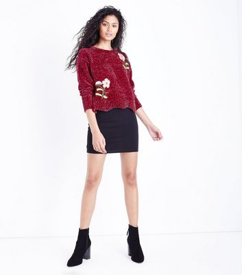 Cameo Rose Burgundy Embroidered Chenille Jumper New Look