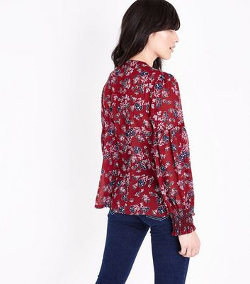 Red Floral Shirred Tassel Tie Neck Blouse New Look