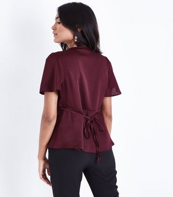 Petite Burgundy Satin Button Front Blouse New Look