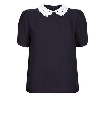 Petite Black Lace Collar Short Sleeve Blouse New Look