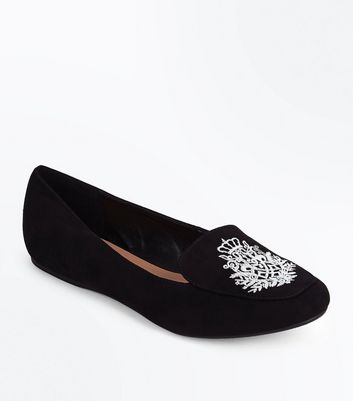 Black Suedette Crest Embroidered Loafers New Look