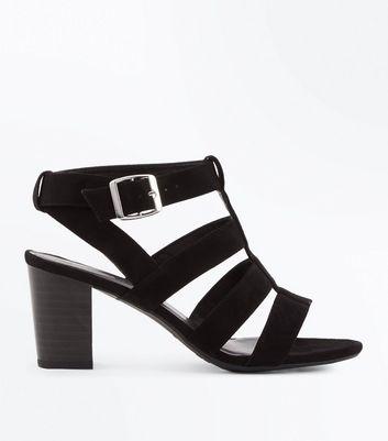 Teens Black Caged Block Heel Sandals New Look