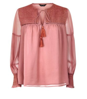 Pink Shirred Tassel Tie Front Blouse New Look