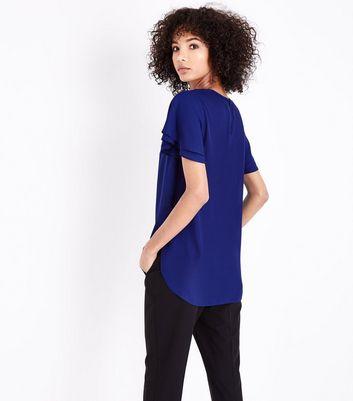 Blue Tiered Sleeve Step Hem Top New Look