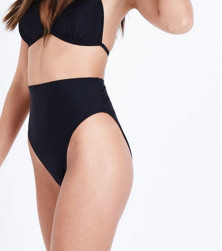 ce630cd823e0f Black High Waist High Leg Bikini Bottoms | New Look