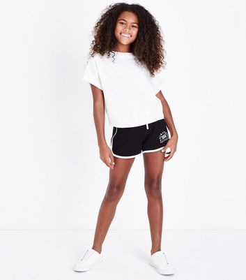 Teens Black East Side Slogan Shorts New Look