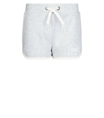 Teens Grey New York Slogan Side Shorts New Look