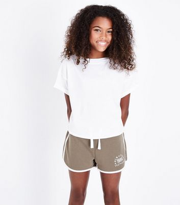 Girls Khaki East Side Slogan Shorts