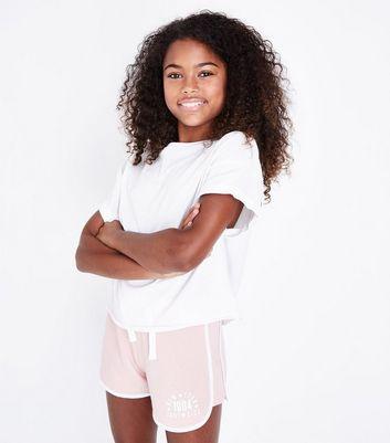 Teens Shell Pink New York Print Shorts New Look