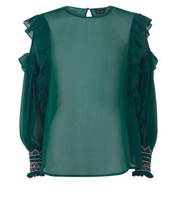 Green Chiffon Frill Balloon Sleeve Top New Look
