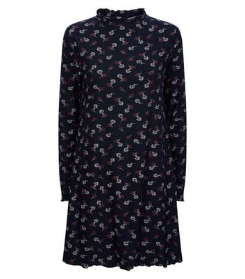 Black Floral Print High Neck Jersey Dress New Look