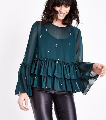 Dark Green Floral Embroidered Double Peplum Hem Blouse New Look