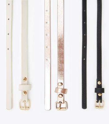 3 Pack Cream Black and Rose Gold Skinny Belts New Look