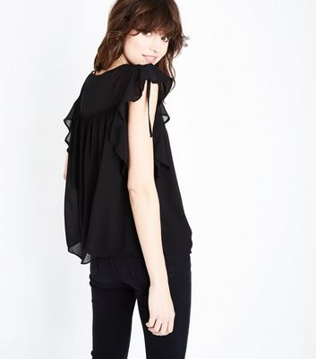 Black Ruched Frill Trim Top New Look