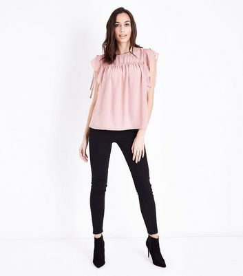 Pale Pink Ruched Frill Trim Top New Look