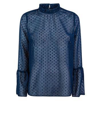 Blue Glitter Spot Bell Sleeve Top New Look