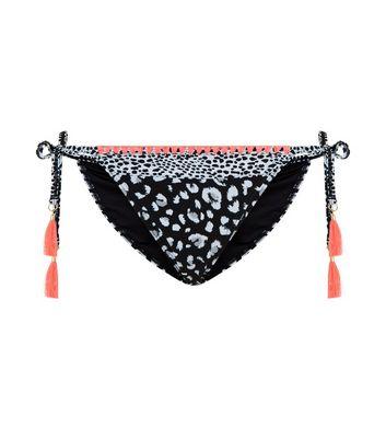 Black Animal Print Tie Side Bikini Bottoms New Look