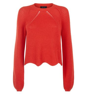 Red Scallop Hem Jumper New Look