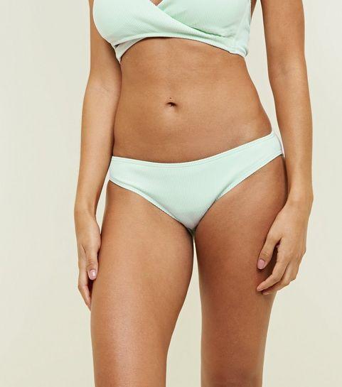 82a0686b6c ... Mint Green Ribbed Bikini Bottoms ...