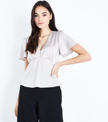 Grey Satin Button Front Blouse New Look