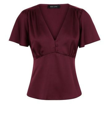 Burgundy Satin Button Front Blouse New Look