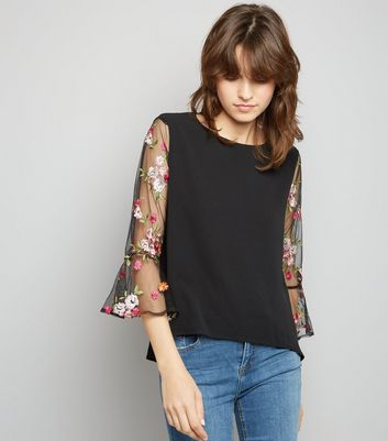 Apricot Black Floral Embroidered Mesh Sleeve Top New Look