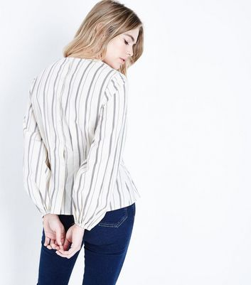 White Stripe Puff Sleeve Top New Look