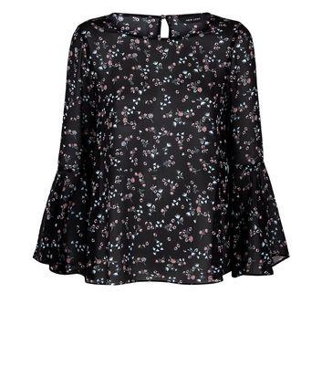 Black Floral Bell Sleeve Top New Look