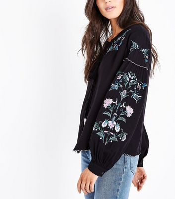Black Embroidered Tassel Tie Cover Up New Look