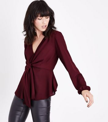 Burgundy Tie Front Blouse New Look