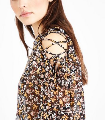 Black Floral Print Lattice Cold Shoulder Blouse New Look