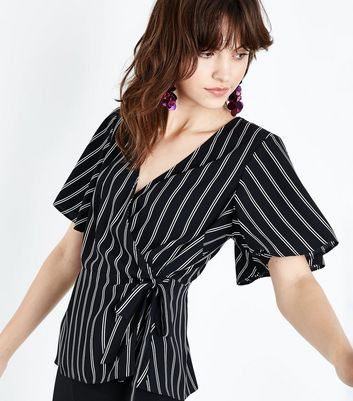 Black Stripe Wrap Front Top New Look