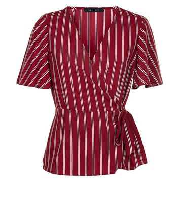 Red Stripe Wrap Front Top New Look