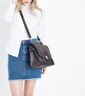 Dark Grey Buckle Side Slouchy Tote Bag New Look
