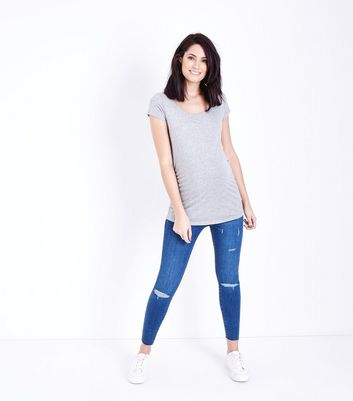Maternity Blue Ripped Over Bump Skinny Jeans New Look