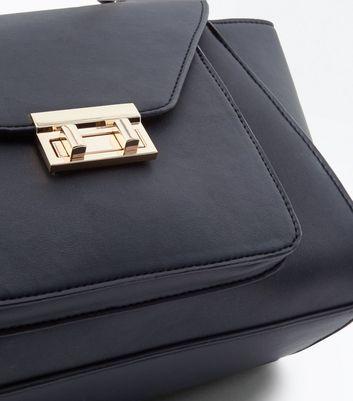 Black Top Handle Winged Tote Bag New Look