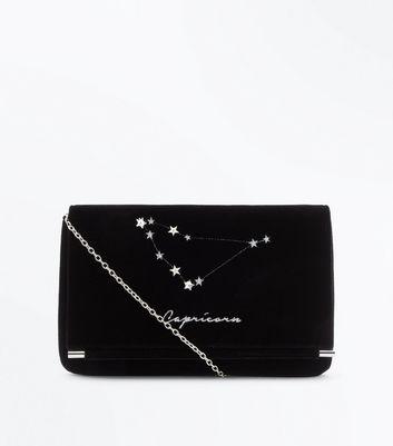 Black Capricorn Velvet Clutch Bag New Look