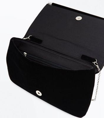 Black Sagittarius Velvet Clutch Bag New Look