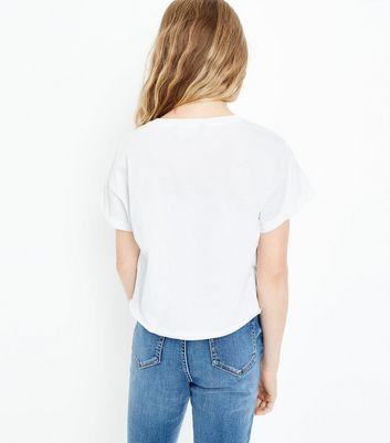 Teens White USA Print Applique Trim T-Shirt New Look