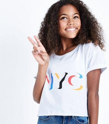 Teens White NYC Slogan Crop T-Shirt New Look