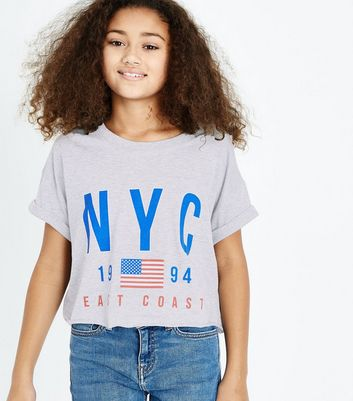 Teens Grey NYC Logo T-Shirt New Look