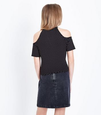 Teens Black Polka Dot Print Cold Shoulder Top New Look